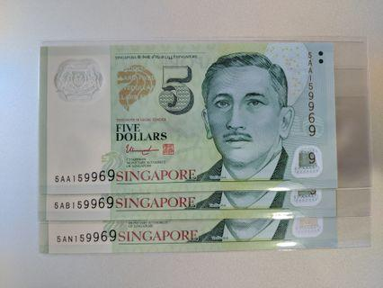 Singapore $5 x 3 Notes Identical numbers including AA