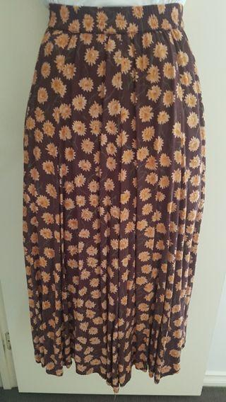 Vintage 90s Sunflower Button Midi Skirt Small Brown Yellow