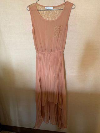 🚚 藕粉色 雪紡長裙