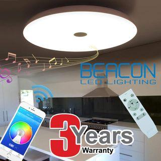 48W Ceiling Light with Bluetooth Dual Speaker / Warm White, Cool White & Day Light tri-colour (3 year local seller warranty)