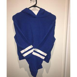 Blue and white hoodie