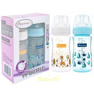 Autumnz - PP Wide Neck Feeding Bottle 8oz/240ml (Twin Pack) (Blue or Pink)