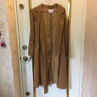 🚚 日牌💗 LOWRYS FARM 長版風衣外套🧥開襟 綁帶款 焦糖駝色 m號