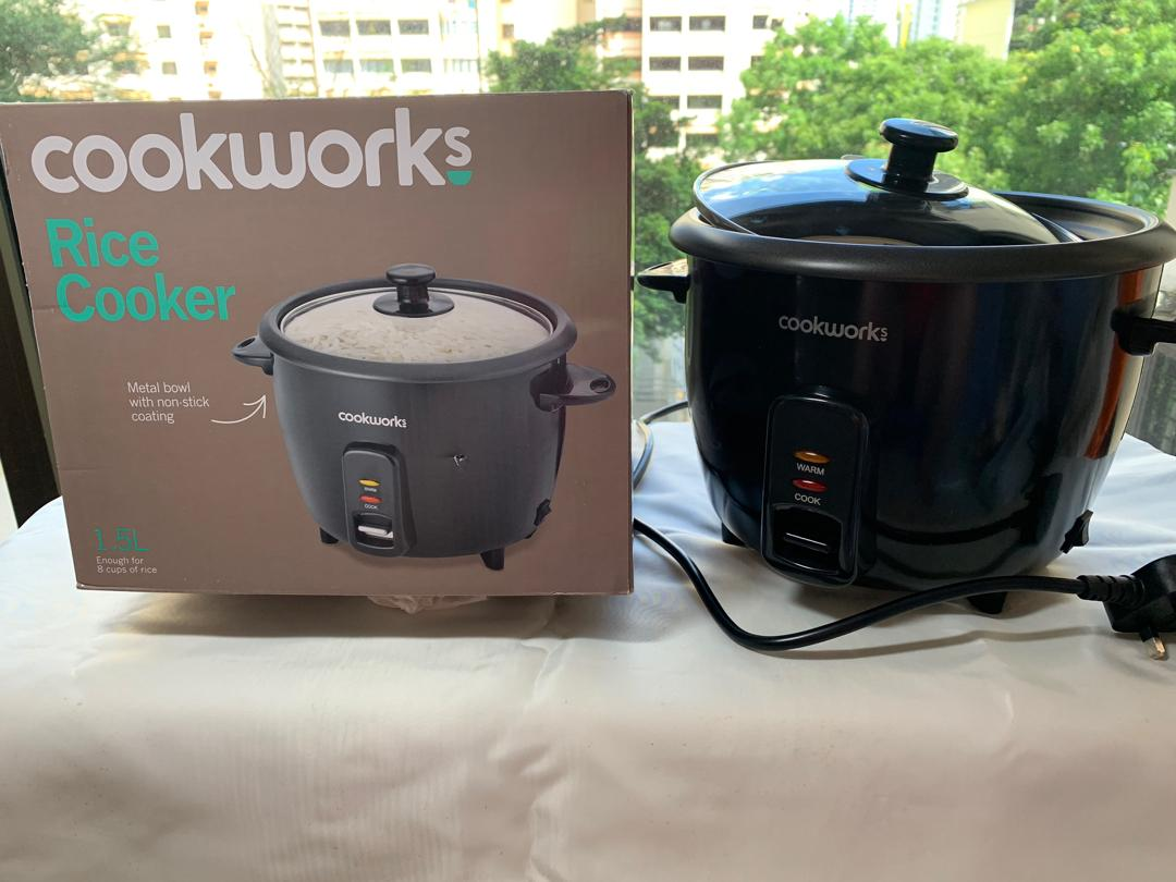 Cookworks 1.5L Rice 500 Watts Cooker Black