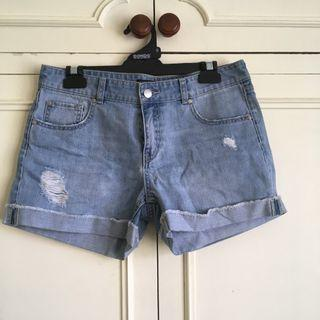 Brand New Forever New Ripped Denim Shorts size 10