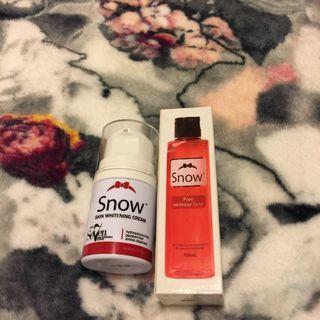 Snow whitening cream and pore minimiser toner bundle set