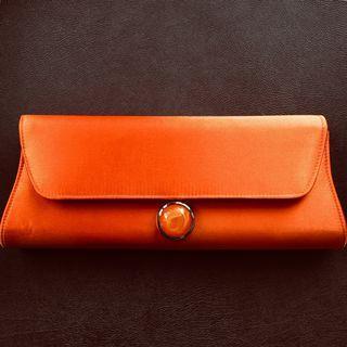 Burnt Orange Clutch Bag with Strap
