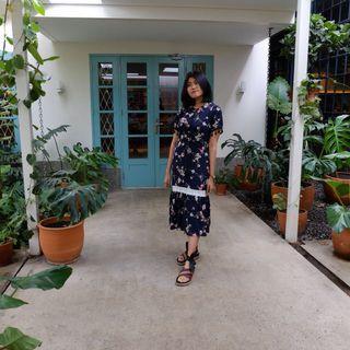 (BARU) Dress motif bunga ready warna Peach