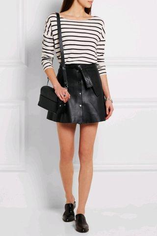 Maje Paris Belted Leather Mini Skirt in Black - Size 40/AU 10 RRP $550