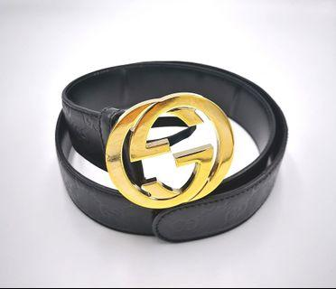 GUCCI belt with GG LOGO buckle and printed logo on belt leather