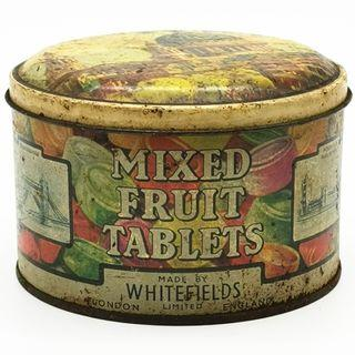 1950s WHITEFIELDS MIXED FRUIT TABLETS TIN