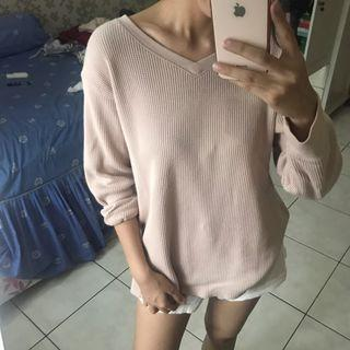 Uniqlo Pink Waffle Sweater Sweathirt Top