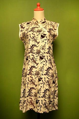 Dress Batik Motif Off White