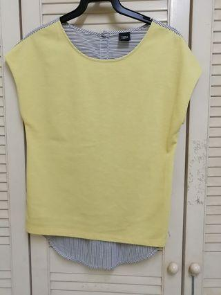 Yellow casual round neck Top