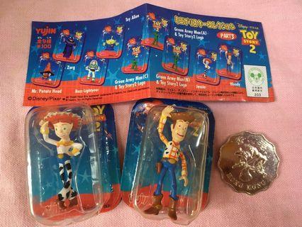 中古 Yujin Toy Story 2 Woody 胡迪 Jessie 翠絲 迷你吸塑 共2款