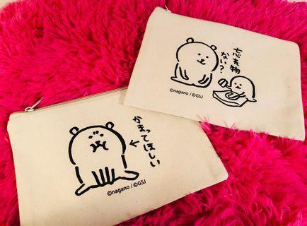 🚚 【Lily搬家出清】自嘲熊 吐槽熊 吐槽自己的白熊 Joke bear 北極熊日本帶回 限量米色扁平帆布拉鍊化妝包