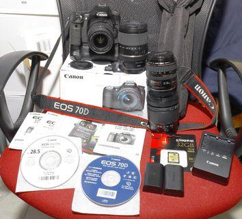 Canon 70D + 18-55mm ef-s is lens with Accesories 100% Working 90% Appearance. Please read the full description.