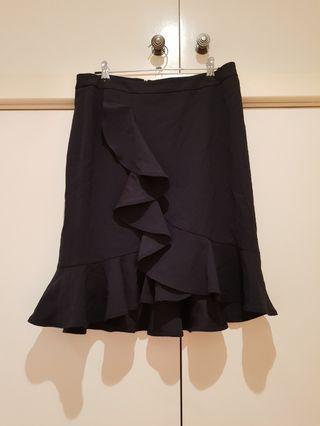 SABA Black Ruffle Front Skirt Size S/8