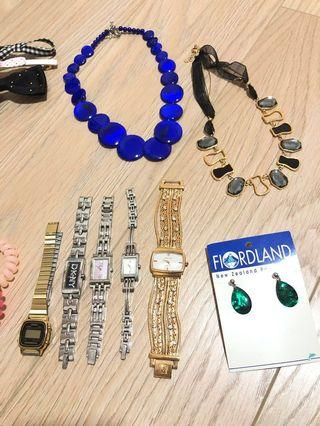 Watches, brand new earrings, necklace, bangles, hair tie, hair clips