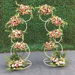 Set of 2 gold metal flower decor stand #wedding #party