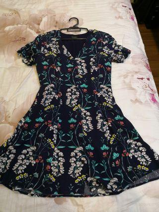 Zalora Navy Blue Floral Dress