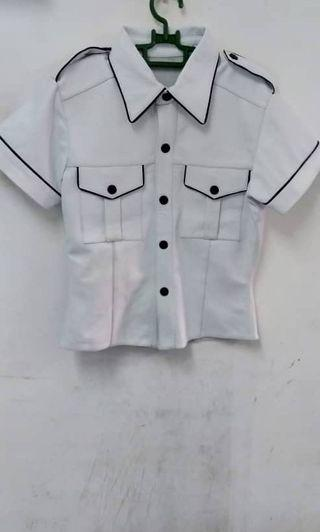 White Sheep Leather Half selive Shirt