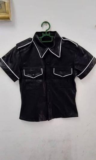 Black Sheep Leather and white pieping Half selive Shirt