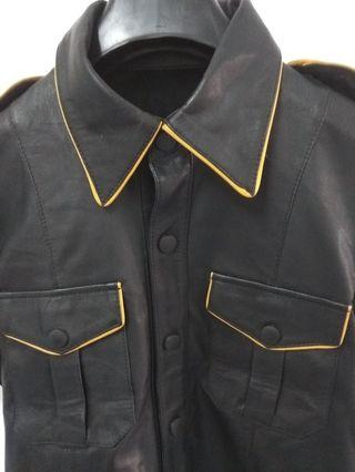 Black sheep leather Half selive leather shirt