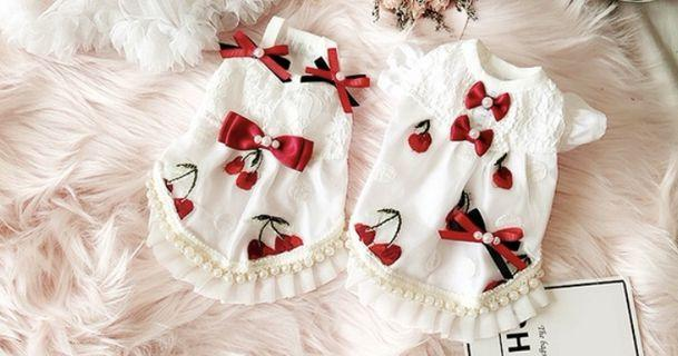 BN Premium Collection Sweet Cherries Strap Dress/ Butterfly Sleeve Pets Dress For Cats Dogs Puppy Kitten