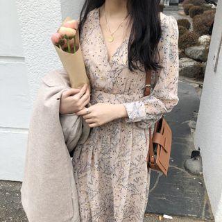 A1674🌸S-XL法式V領碎花後綁帶雪紡洋裝
