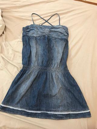Mango mng jeans牛仔丹寧平口洋裝