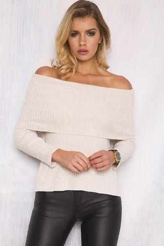 Nude off shoulder knit top