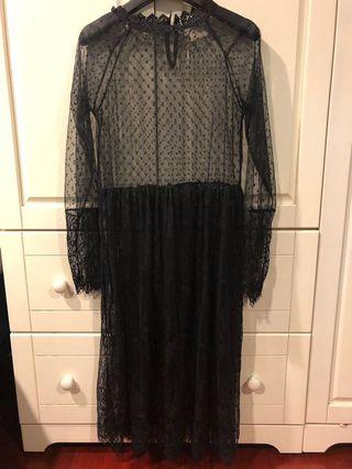 [代網拍成癮的友出售]黑色透膚襯裙