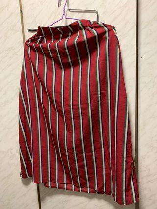 紅色間條長裙 red long dress