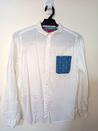 White Button-Up with polka dot pocket