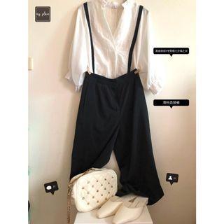 🚚 (行程滿檔日)白色黑線條前V字開襟上衣+黑色滑料西裝褲