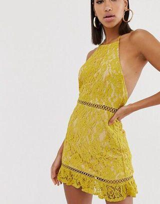 Fashion Union yellow floral lace high neck low back dress 黃色高領露背蕾絲裙