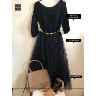 🚚 (有點小神秘日)黑色美背小可愛+黑色微透視五分袖+黑色鬆緊兩層紗長裙