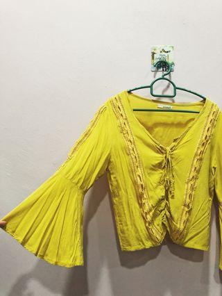 Mustard crop blouse
