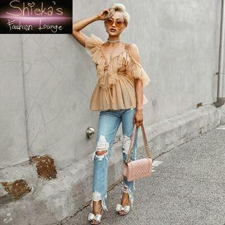 Nude Off Shoulder Peplum Ruffle Blouse