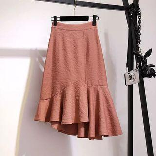 🚚 Basic Asymmetrical Ruffle Wrap Skirt