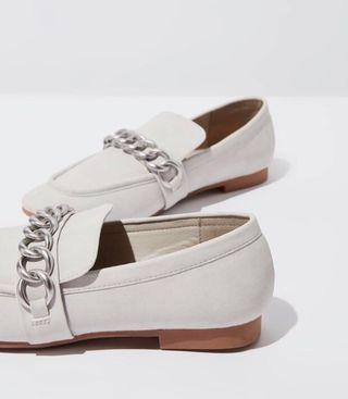 Grey Silver Chain Loafers