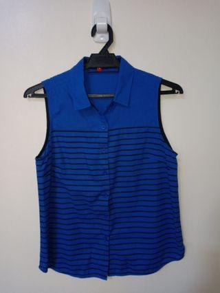 PADINI Dark Blue Striped Button Vest