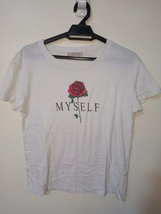 BERSHKA Rose White T-Shirt
