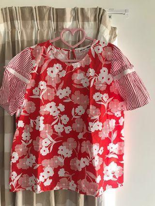 韓國floral print上衣