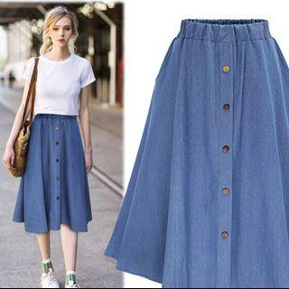 Denim A Line Midi Skirt