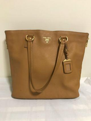 Prada leather shopping Tote bag