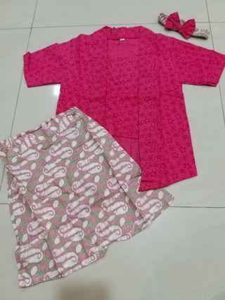 1 Set New Pink Batik Kebaya