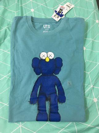Uniqlo x KAWS Teal Shirt with Dark Blue Figure