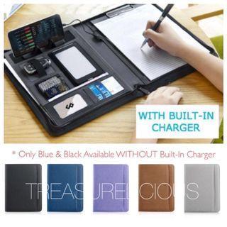 ANDINO Business Folio/ Multifunctional/ Professional/ Travel/ Business Portfolio/ Padfolio/ Folder/ Document/ Case/ Organiser/ A4 Saffiano Leather Zippered Closure/ Business Card Holder Memo Note iPad Holder